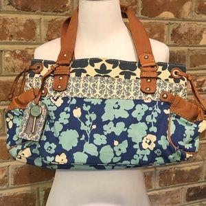 Fossil Blue Floral Canvas Shoulder Bag